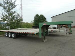 24 foot gooseneck tri-axle flatdeck. FULLY SAFETIED