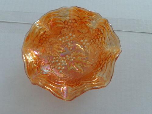 VINTAGE CARNIVAL GLASS AMBER/MARIGOLD BOWL RUFFLED RIM GRAPES