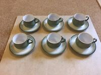 Denby Regency Green 6 x cups and saucers - perfect condition