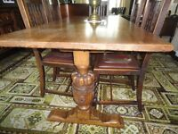 Antique Solid Oak Refectory Table + 6 Chairs.