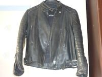 Black Leather Motorcycle Jacket , G-Mac, Size 10