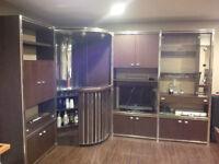Retro 70's style wood + chrome corner entertainment unit /w bar
