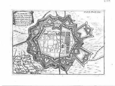 Antique map, Landau, Ville au Roy de France