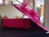 Hattinator and matching bag - Jacques Vert. Fuschia pink. Hat and bag only worn once.