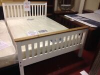 Available Today New 4ft6 white wooden bed with solid pine trim pic 1 ONLY £149 LAST ONE