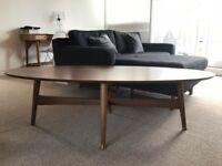 West elm mid century walnut oval coffee table