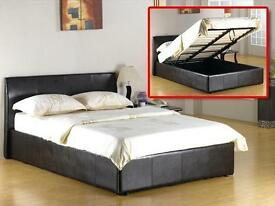 BRAND NEW**KING SIZE 5FT**LEATHER BED WITH LIFT UP STORAGE AND SEMI ORTHOPAEDIC MATTRESS - ON- SALE