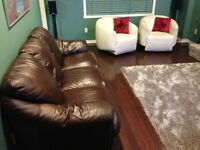 Genuine leather sofa, white stylish swivel chairs
