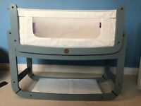 SnuzPod crib (grey), excellent condition, with wedge pillow, mattress and sheets
