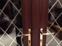 UPVC double glazed french doors in dark wood grain finish
