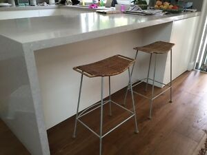 2 wicker / steel bar stools Chatswood West Willoughby Area Preview