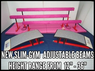 "SLIM-GYM 8FT ADJUSATBLE HEIGHT GYMNASTICS GYM BALANCE BEAM 'PURPLE' 12"" TO 16"""