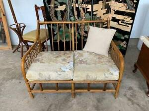 G7022 Vintage Cane Wicker Boho Lounge Sofa Couch