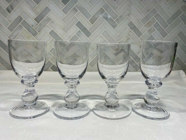 Simon Pearce  - Four White Wine Glasses, All Signed - Belmont - Retired Pattern