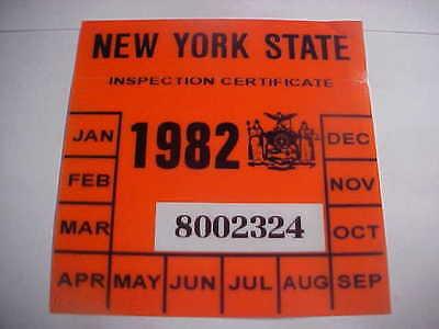 new york 1982 registration inspection sticker windshild