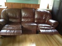 LEATHER RECLINER COUCH - EXCELLENT CONDITION