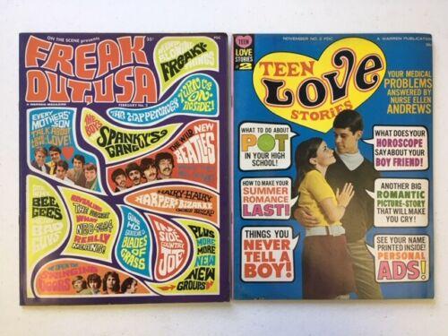 TEEN LOVE STORIES #2 & FREAK OUT USA #2 Warren 2 Magazine Lot Beatles LSD 1967