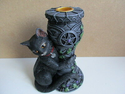 MYSTIC CAT  MIDNIGHT  WITCHES  CATS OF THE COVEN CANDLE HOLDER BOXED NEMESIS NOW
