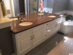 Beautiful double sink vanity with granite top for sale