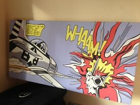 Roy Lichtenstein whaam reproduction framed canvas pop art in good condition