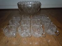 VINTAGE GLASS PUNCH BOWL AND 12 CUPS