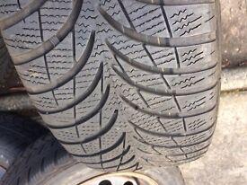 Winter wheels & tyres 215/55 R16 (off BMW 3-series) Avon/Goodyear 4.5-5.0 tread
