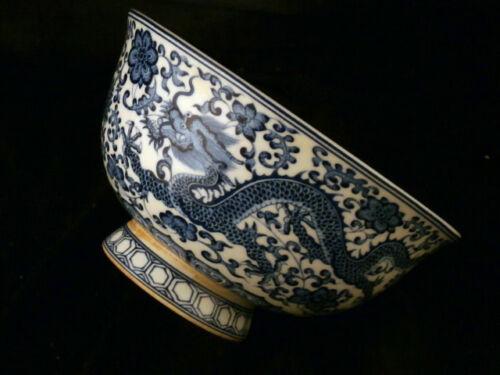 Beautiful Chinese Qing Dy QianLong Mark Blue & White Porcelain *Dragon* Bowl