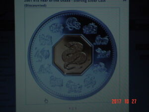 2001 CANADA $15.00 YEAR OF THE SNAKE.