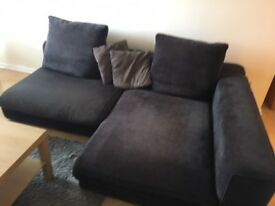 L Shape Sofa For Sale. Charcoal Colour. Nearly New. Covers are machine washable