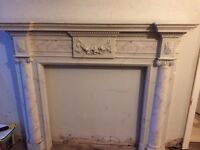 White marble effect fire surround in good condition.