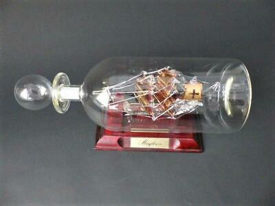 "Vintage Glass Ship In A Bottle ""The Galleon Mayflower"" Hand Made In The UK"