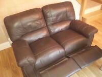 Brown leather two-seater sofa (free!)