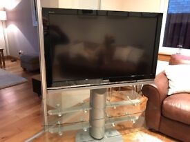 TV Stand Glass and silver. Immaculate condition