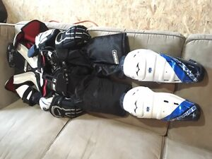 Complete set of youth hockey equipment