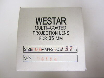 Westar 135mm FL  F2.1 35mm Cine Projector Lens New! MIB!