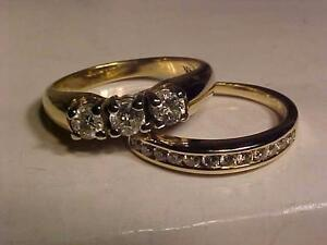 #1000-14K Y/W/Gold WEDDING SET-SIZE 6 5/8-APPRAISED-$3,150.00 Yours-$895.00-SHIP to CANADA ONLY-ACCEPT EBANK TRANSFER