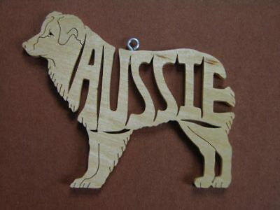 Australian  Shepherd Aussie   Wood Toy Dog Christmas Ornament  Gift Tag Australian Shepherd Christmas Ornament