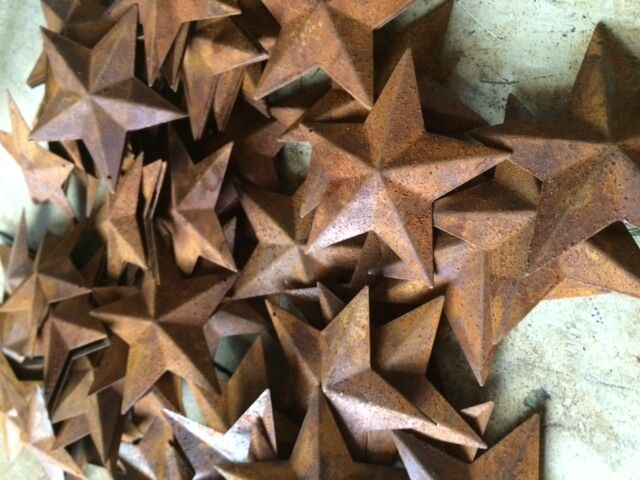 "100 TOTAL Rusty Barn Stars (50) 1.5"" & (50) 2.25"" Country Rust Rustic Prim *"