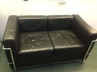 Executive black and chrome 2 seater sofa