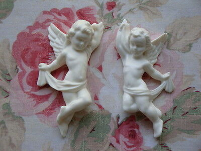 Cherubs Pair L/R Facing Furniture Applique Architectural Plaque