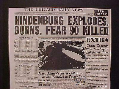 VINTAGE NEWSPAPER HEADLINE~GERMAN ZEPPELIN AIRSHIP HINDENBURG EXPLODES DISASTER~