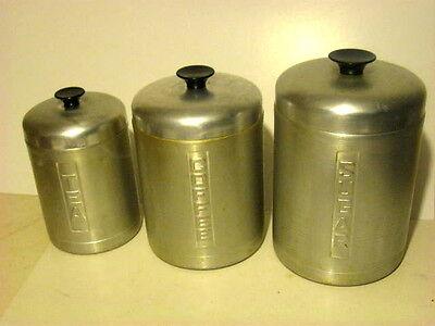Vintage COFFEE TEA SUGAR Aluminum Tins Kitchen Counter Set Nestable Embossed