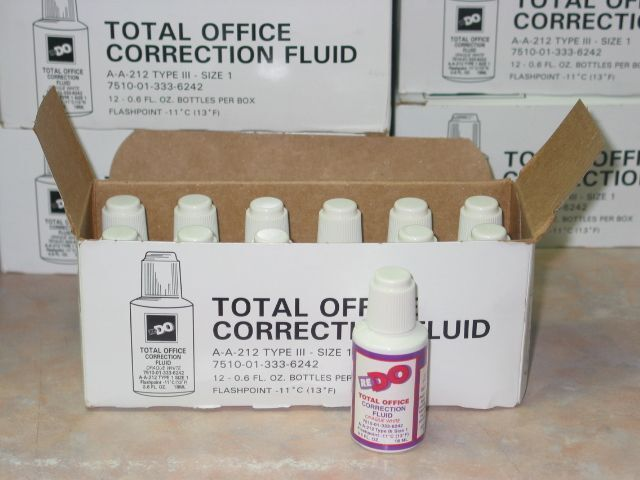 12 Bottles Redo Correction Fluid, 0.6 oz Bottles, White,  ~ Free Shipping