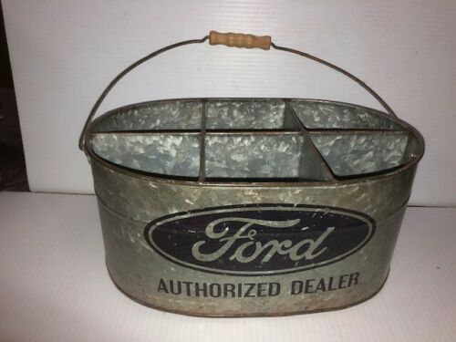 Vintage Ford Authorized Galvanized Metal Tool Parts Bucket Beer Pail