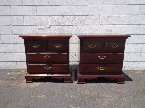 2 Nightstands Antique Wood Bedside Tables Bedroom Storage Traditional End Table