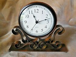 Clock Wrought Iron Quartz Movement Battery Operated Desk Mantle & Shelf Clocks