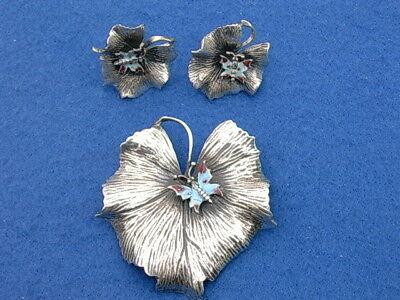 Vintage Walter Lampl Sterling Leaf with Enamel Butterflies Brooch Pin & Earrings