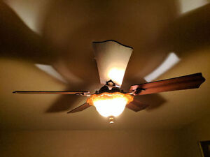 Ceiling light with fan, walnut and bronze