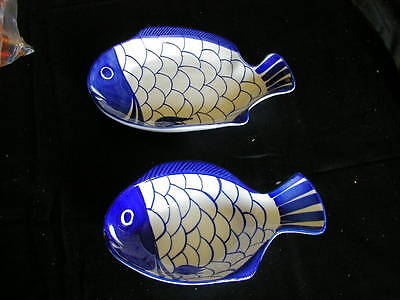 lot of 2 dansk platter and bowl in the shape of a fish blue & white sir lanka
