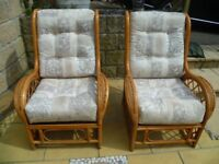 TWO CONSERVATORY CANE ARMCHAIRS